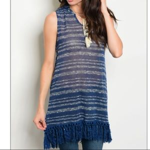 Boutique Hooded Blue Striped Tunic Nwt